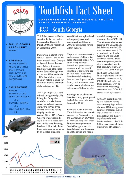 COLTO South Georgia toothfish fact sheet 2012