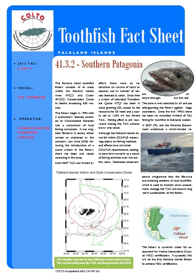 Falkland Islands toothfish fact sheet