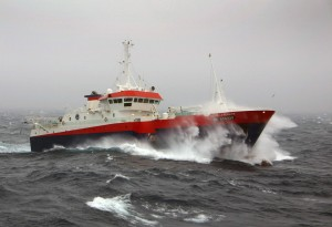 The French fishing vessel Ile de la Reunion fishing at Kerguelen Island