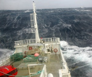 Wild weather while fishing for toothfish at Kerguelen Island